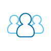 community web icon of outlines of 3 people from shoulders up with one at forefront