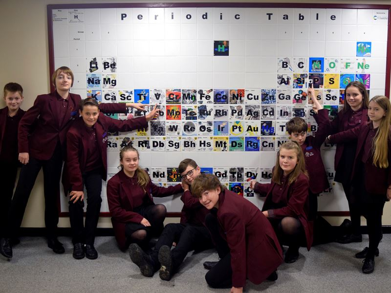 School children in burgundy blazers, some sitting some standing, smile at the camera and point at a large and colourful ceramic periodic table on the wall