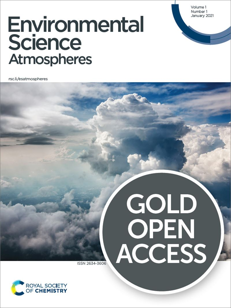 "Image of the Journal cover, featuring a background of a cloudy sky, the journal title ""Environmental Science: Atmospheres"", and the words ""gold open access"""