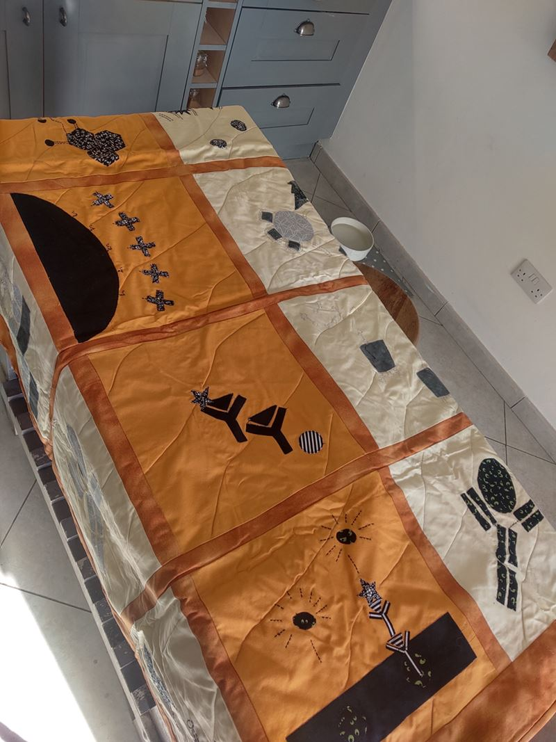 Orange quilt decorated with scientific symbols
