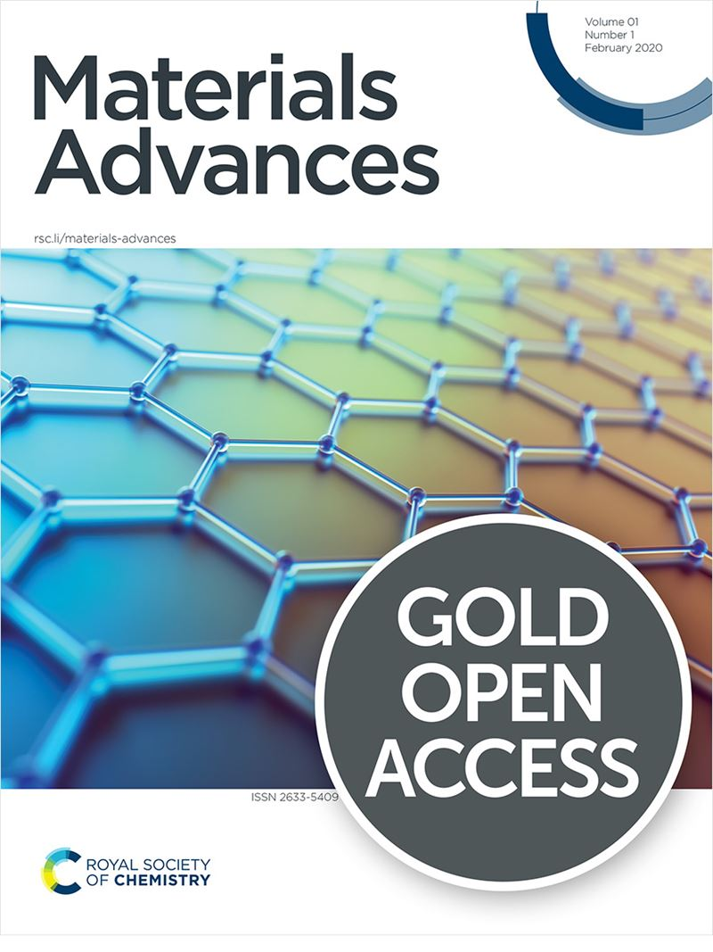 "Materials Advances journal cover showing the title, a hexagonal molecular pattern, and a badge saying ""Gold Open Access"""