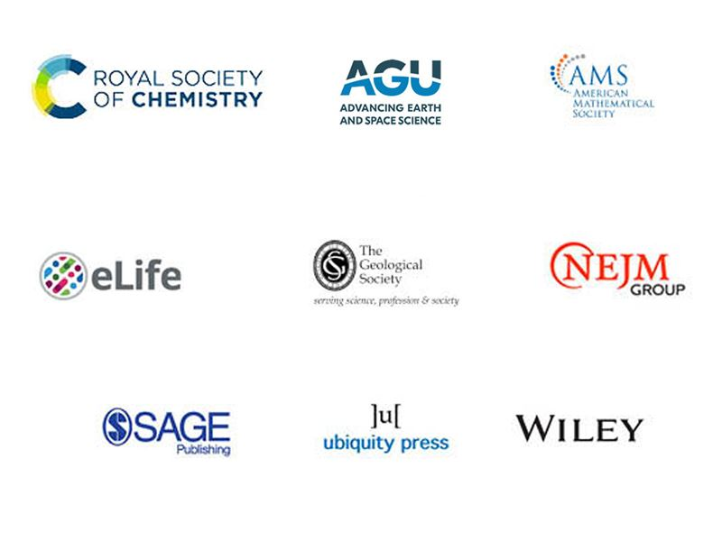 Eleven new publishers have signed the commitment: AGU, American Mathematical Society, Brill, eLife, The Geological Society, MIT Press, NEJM Group, SAGE, SIAM, Ubiquity Press and Wiley
