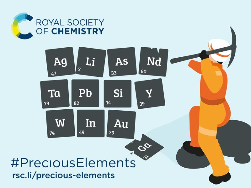 Artwork displaying the RSC logo and showing someone mining precious elements. The text reads #PreciousElements, rsc.li/precious-elements