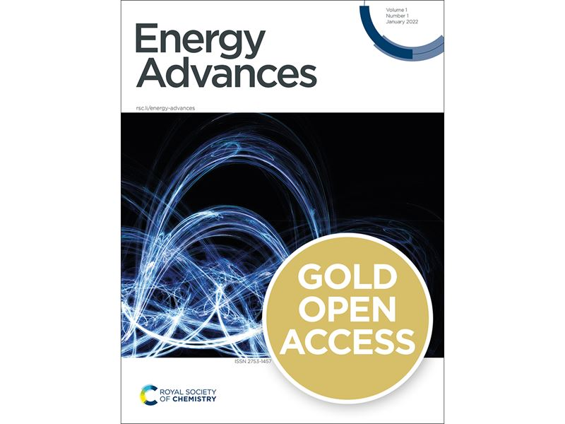 Energy Advances cover with a gold open access badge