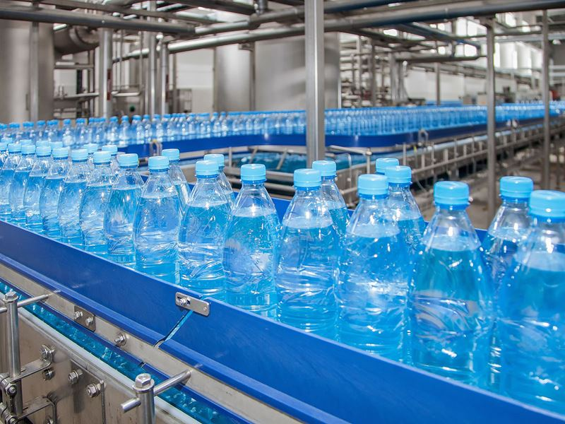 Plastic bottles on a factory production line