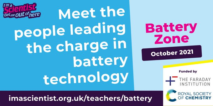 Battery zone advert with RSC and Faraday Institute logo