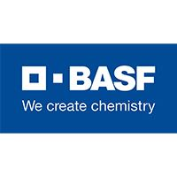 """BASF company logo, navy blue with white initials, has tag line """"We create chemistry"""""""