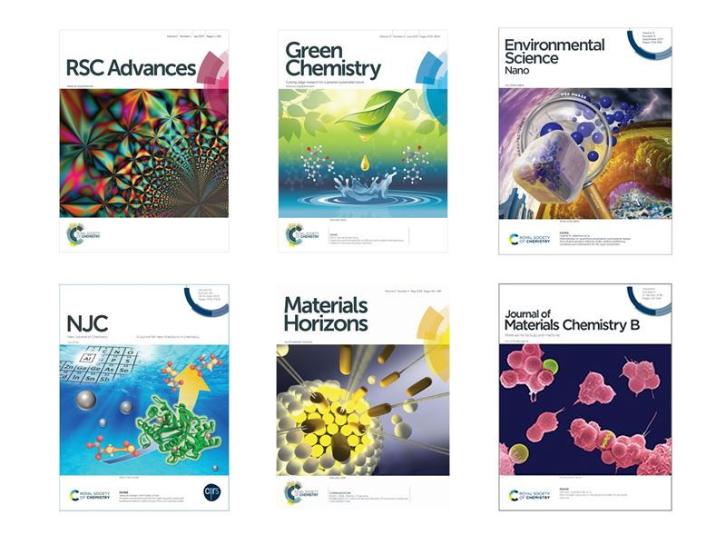 Front cover images of 6 of our journals