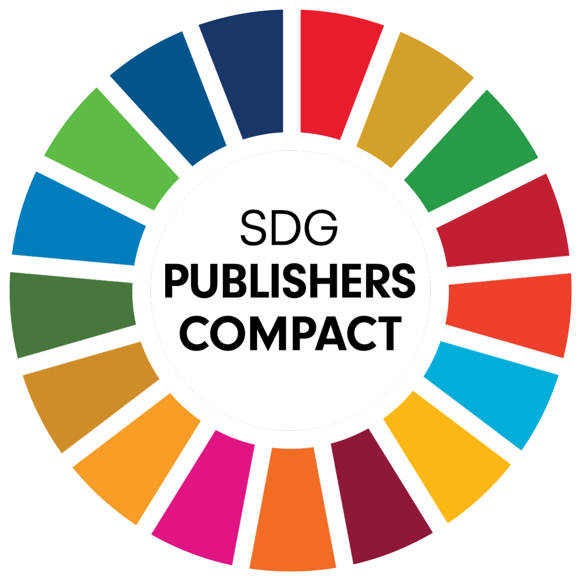 United Nations Sustainable Development goals publishers compact logo - a circle of segments of colour arranged like a clock face